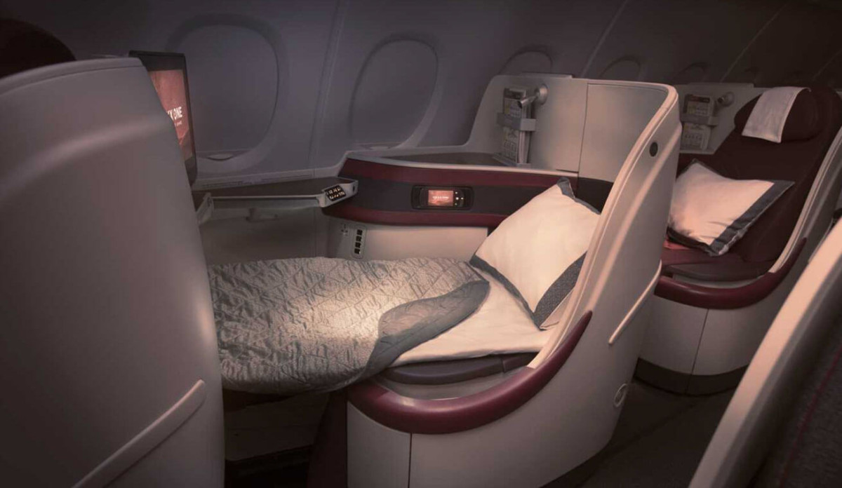 Qatar a380 business seat