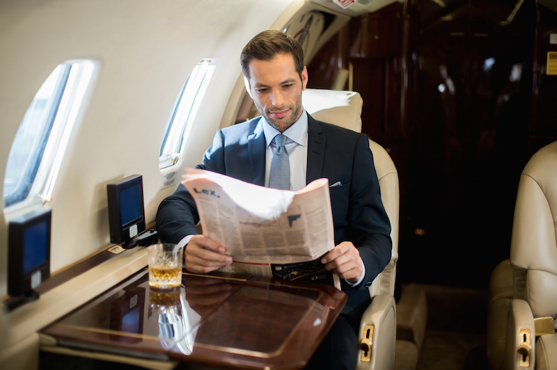 businessman on business class